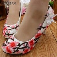 Sorbern розовый цветок сливы Белая Свадебная обувь 8 см на высоком каблуке Женская обувь на платформе туфли-лодочки Свадебные каблуки слипоны ц...