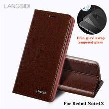 Wangcangli Cho Redmi Note4X điện thoại trường hợp da Dầu sáp wallet lật Đứng Chủ Khe Cắm Thẻ trường hợp da để gửi điện thoại glass phim