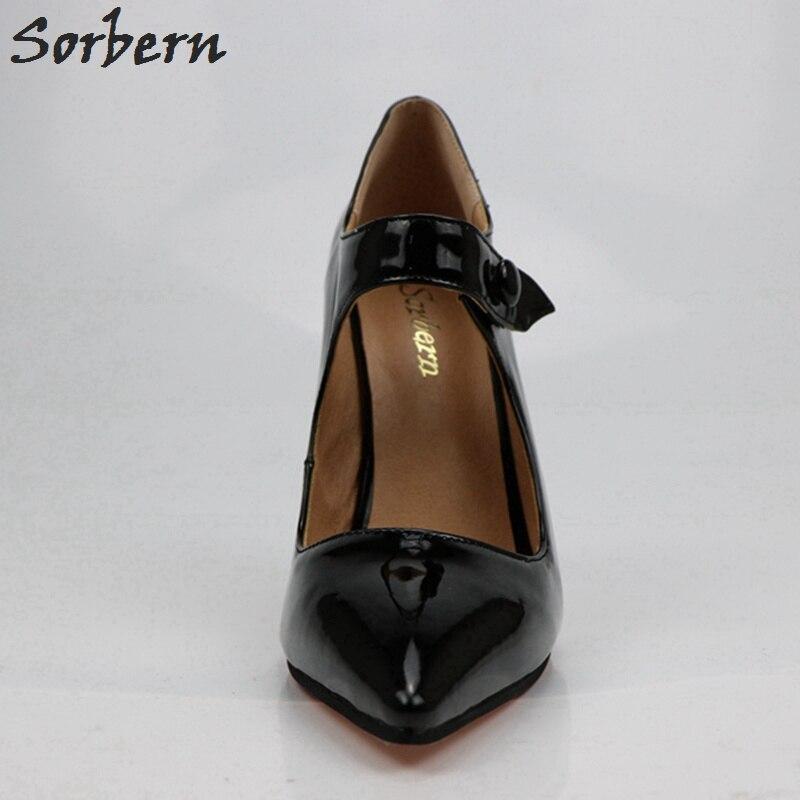 Mode Taille Qualité Pompes À Janes Plus Femmes Femme Noir Diy Talons Noir Robe Couleurs Sorbern Color Haute Hauts Chaussures Mary La custom 2018 fdqAYx
