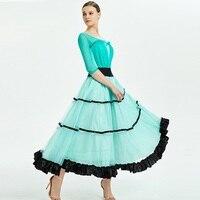 Ballroom dance dress women waltz dress fringe ballroom dress standard social dress flamenco costumes dance wear blue yarn