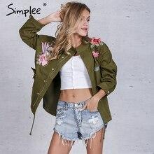 Simplee Unlined zipper basic jacket coat women jacket 2016 autumn winter 3d applique oversized casual outwear coats streetwear