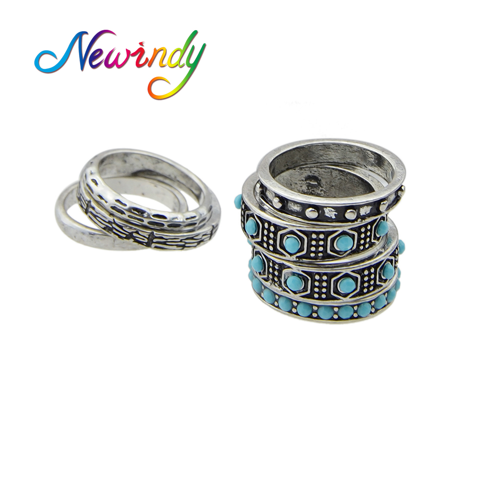 Set Indian Jewelry Boho Rings Antique Silver Color With Blue  Beads Geometric