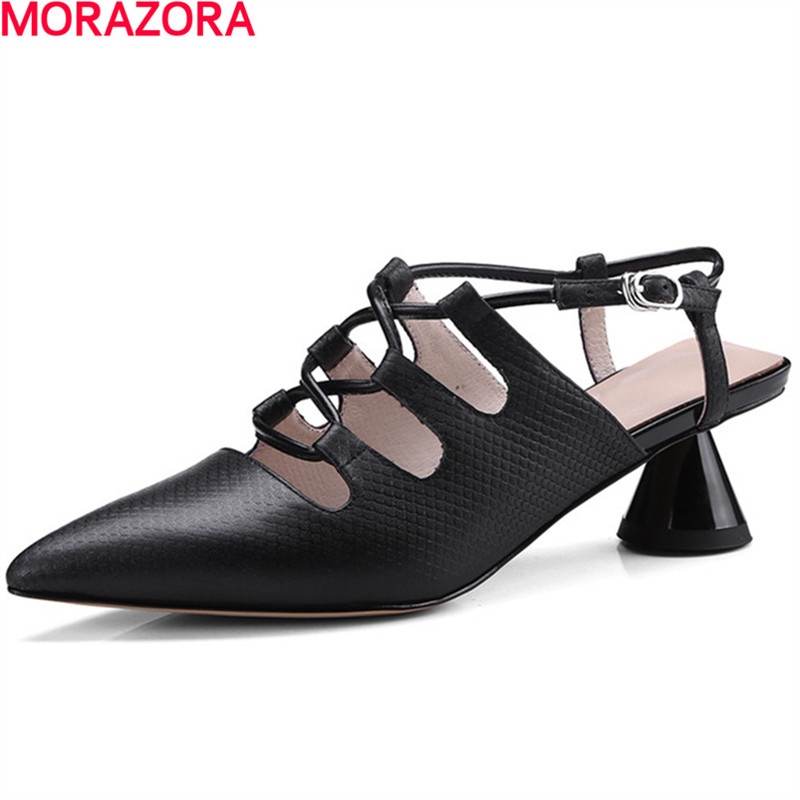 MORAZORA hot sale new arrival pointed toe women sandals high heels shoes woman summer shoes party sexy fashion popular lanyuxuan 2017 new hot sale sandals