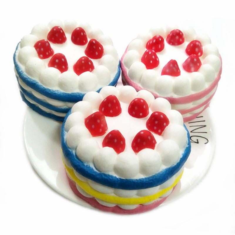 4 styles Funny Creative Squishy Simulation Strawberry Cake Slow Rising Relieves Stress Toys Gift For Children