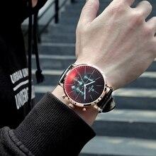 Nagroda marka gorąca wyprzedaż zegarków 2019 moda kolorowe szkło chronograf mężczyźni Sport zegarek wodoodporny zegarek ze skórzanym paskiem Montre Homme