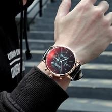 Recompensa marca venda quente relógio 2019 moda colorido vidro cronógrafo relógio masculino esporte relógio de couro à prova dwaterproof água montre homme