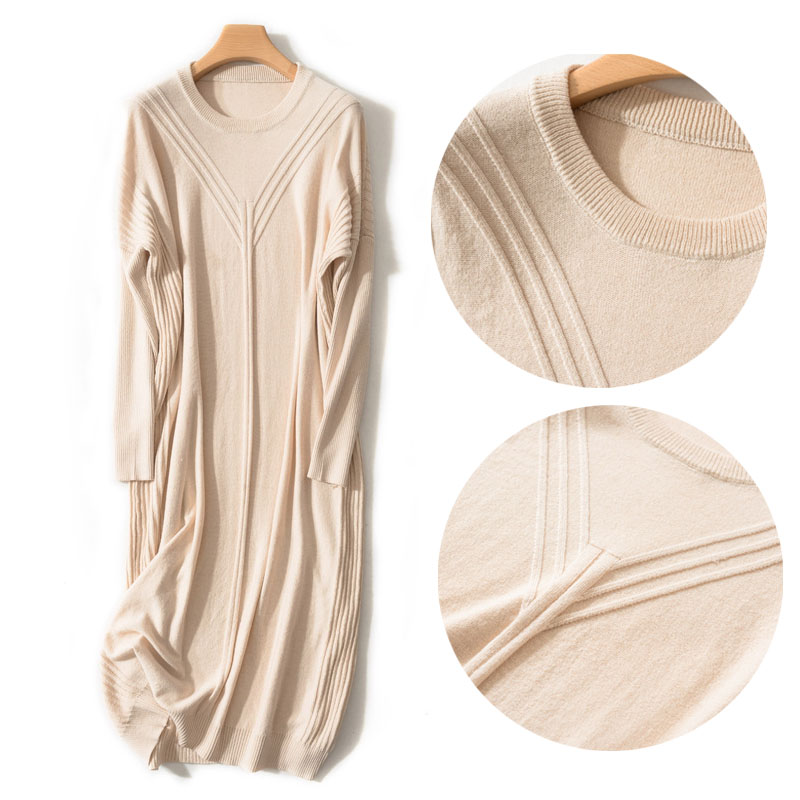Long Knitted Sweater Dress Spring Winter Pullover Women Sweater Dress Lady's New Beige Batwing Cashmere Knit Pullover Dress Wool