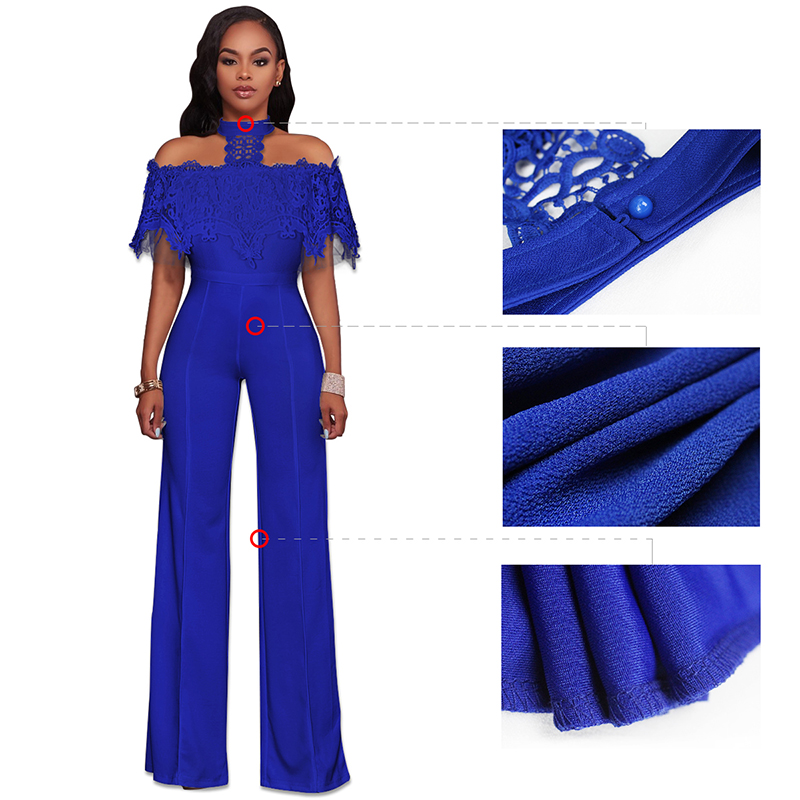 Women Casual Long Pant Slim Jumpsuits Fashion Stitching Lace Back Zipper Bodysuit Winter Spring Girls Rompers