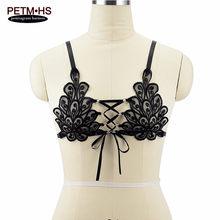 7afea21f0 Womens sexy Encaje Sheer Cage bralette negro elástico Cuerpo arnés ropa  interior ajustar strappy Tops pecho