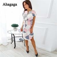 Ahagaga 2018 Summer Dress Women Fashion Print Elegant Cute Sashes O-neck Sexy Slim Sheath Dress Women Dresses Vestidos Robes 2