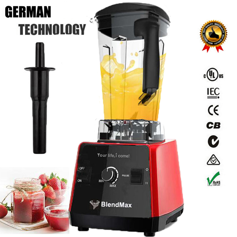 EU plug BPA Free 3HP 2200W Commercial Blender Mixer Juicer Power Food Processor Smoothie Bar Fruit Electric Blender eu uk au plug 3hp bpa free commercial grade home professional smoothies power blender food mixer juicer food fruit processor