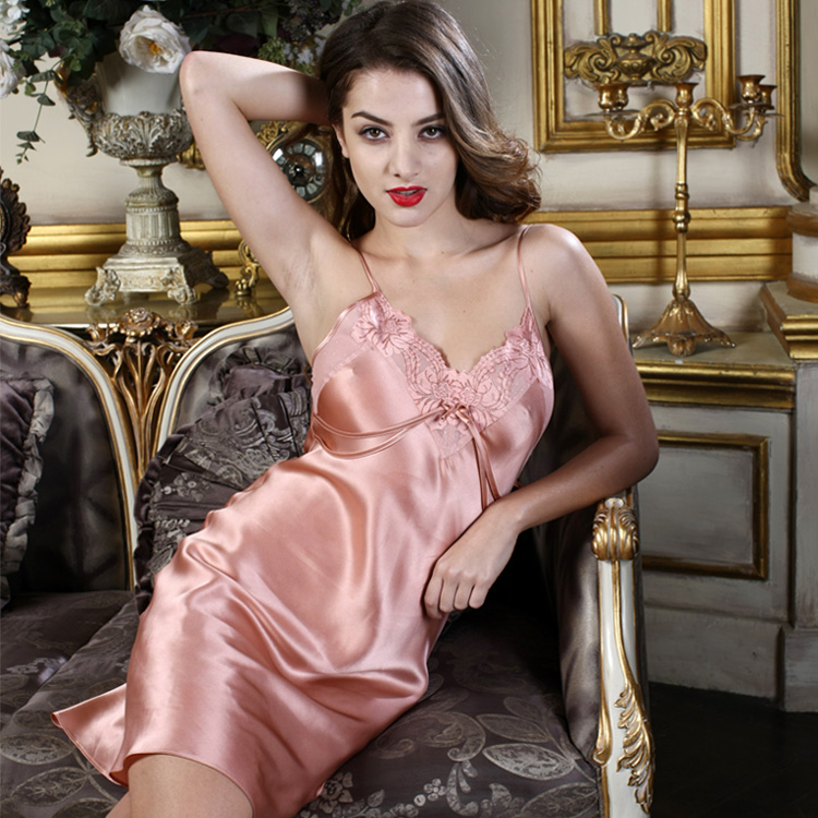 Pure Silk Sleepwear for Women Sleepwear 100% Silk   Nightgowns     Sleepshirt   Sexy Red Pink V neck High Quality Clothing Free Shipping