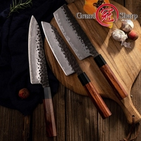 3 PCS Kitchen Knife Set Japanese AUS10 Steel Chef Santoku Nakiri Kitchen Chef's Knives Cooking Wood Handle Gift Box Grandsharp