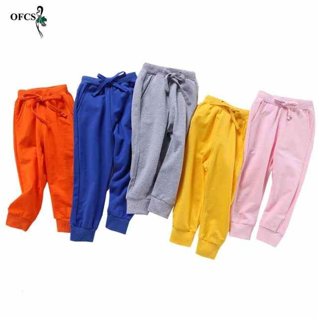 Solid Color Elastic Waist Soft Baby Pants 5