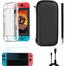 4 in 1 Game Players Accessories Kits for Nintendo Switch Case Bag+Charging Cable+ Protective Case+Tempered Glass Screen Film Set