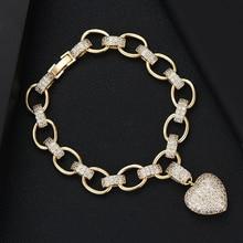 GODKI Lüks Kalp Link Zinciri Bilezikler Bilezik Kübik Zirkon CZ Vintage Bohemian Manşet Bilezikler Kadınlar Için Femme moda takı