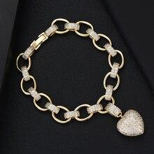 GODKI luksusowe serce Link Chain bransoletki bransoletki Cubic cyrkon CZ Vintage czeski mankietów bransoletki dla kobiet biżuteria Femme