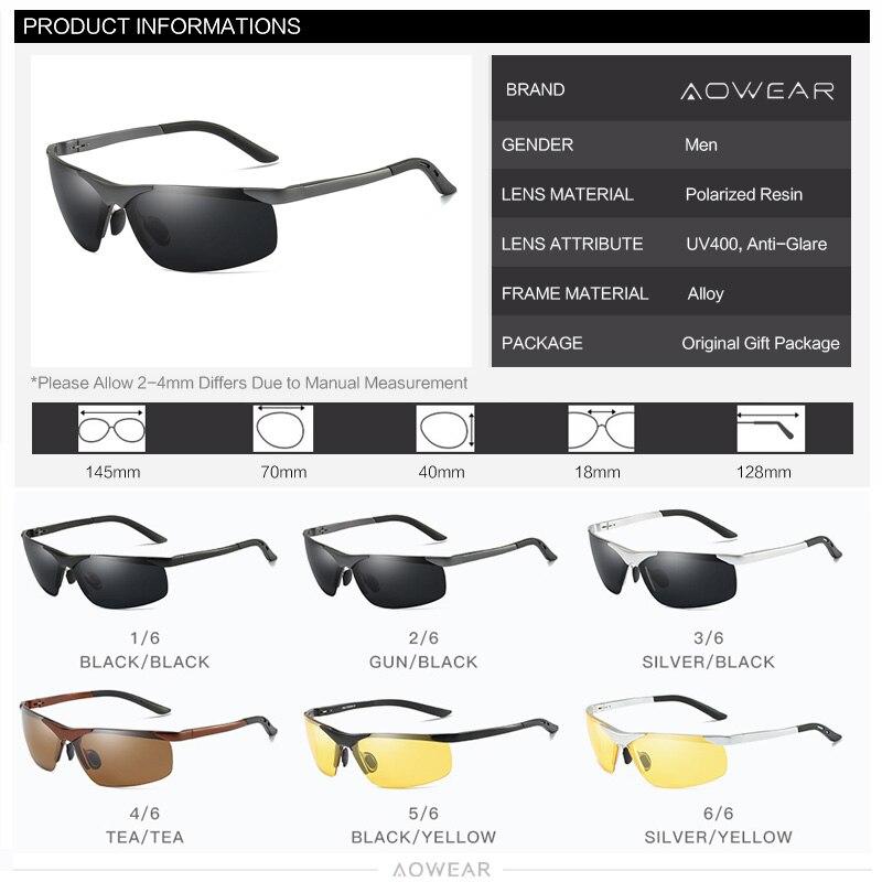 Image 5 - AOWEAR Men  HD Polarized Sunglasses Mens Goggles Anti glare Sun Glasses  Aluminum Frame Sports Outdoor Driving Fishing Eyeglasspolarized sunglasses menpolarized sunglasseshd polarized sunglasses -