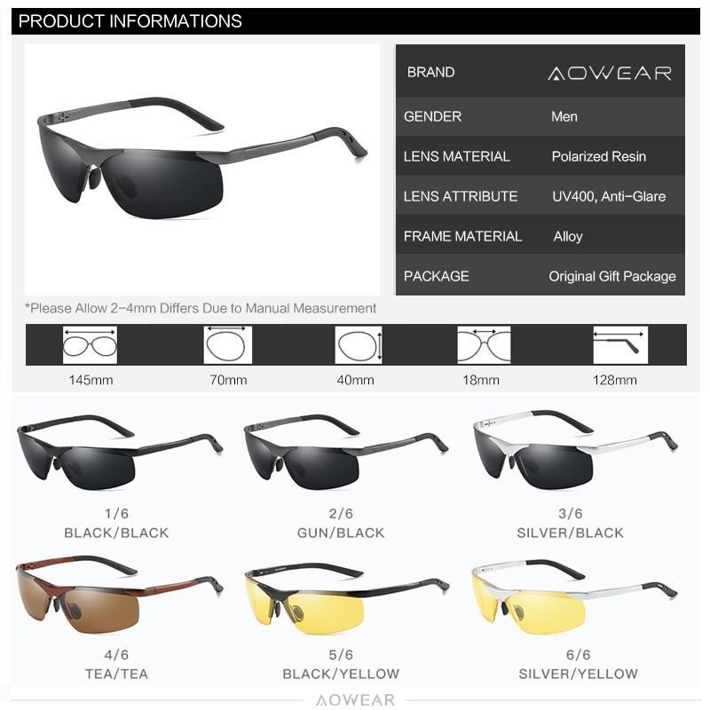 Image 5 - Aowear男性hd偏光サングラスメンズアンチグレアミラー太陽メガネアルミフレームスポーツ屋外運転釣り眼鏡polarized sunglasses menpolarized sunglasseshd polarized sunglasses -