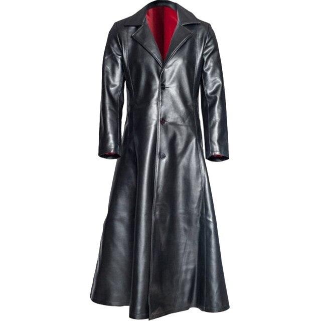 الخريف الشتاء الرجال طويلة الجلود خندق سترة 2019 مقاوم للماء الرجال القوطية معطف جلد طويل فو الرجال العلامة التجارية جلدية معاطف S 5XL