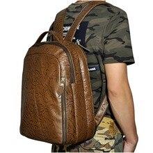 Neue Design Männliche Echte Leder Lässige Mode Mit Großer Kapazität Reisetasche Schultasche Buch Tasche Rucksack Daypack Für Männer 621b