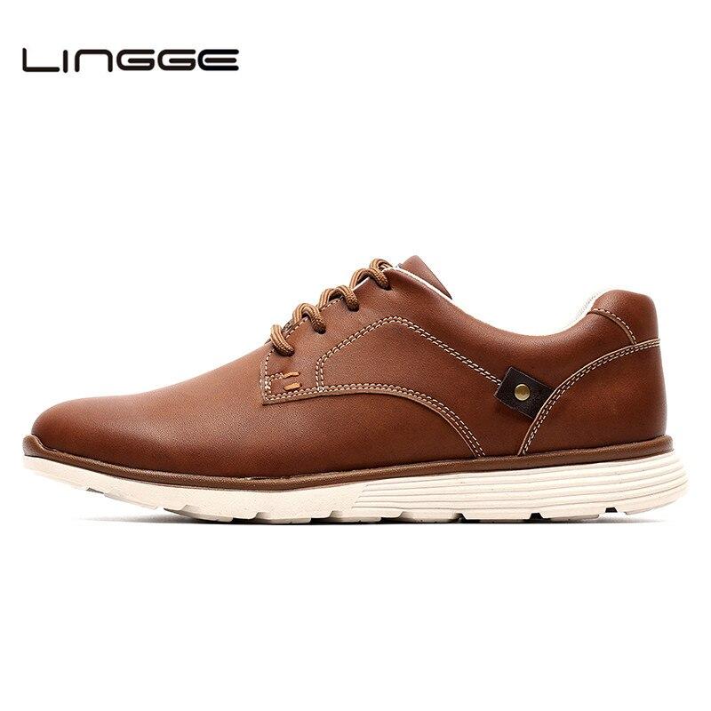 LINGGE Neue Leder Schuhe männer Wohnungen, Design Stil Männer Schuhe, Fashion Lace Up Lässige Schuhe Für Männer Große Größe 39-46 # IL007-2