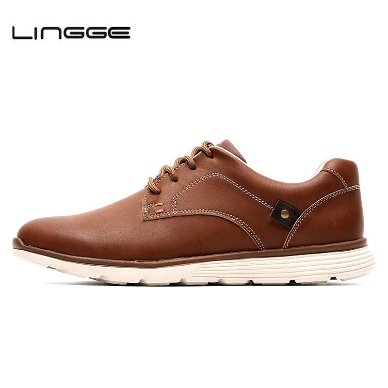 LINGGE New Leather Shoes Men's Flats, Design Style Men Shoes, Fashion Lace Up Casual Shoes For Men Big Size 39-46 #IL007-2