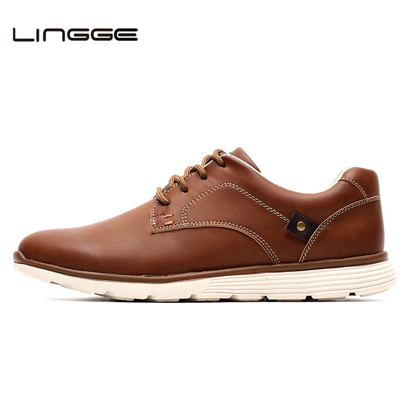 LINGGE New Leather Shoes Men's Flats, Design Style Men Shoes, Fashion Lace Up Casual Shoes For Men Big Size 39-46 #IL007-2
