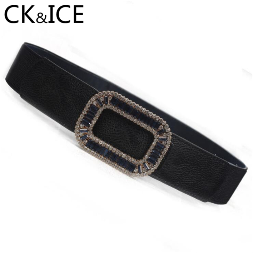 CK&ICE Stretch Elastic Straps Women Belt Faux Leather Rhinestone Buckle Belts For Women Wild Style Accessories Belt Ceinture