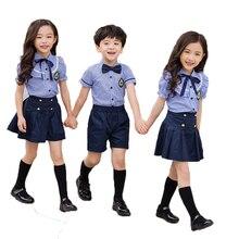 78f01ebdf Conjuntos de ropa de uniforme escolar de verano para niños y niñas,  camisetas de manga corta de estilo universitario, pantalones.
