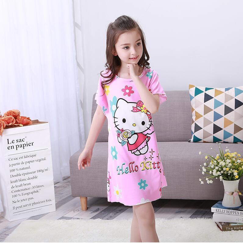 New 2018 Children Girl Clothing Summer Dresses Girls Baby Pajamas Cute Princess Nightgown Kids Home Cltohing Girl Sleepwear kp80