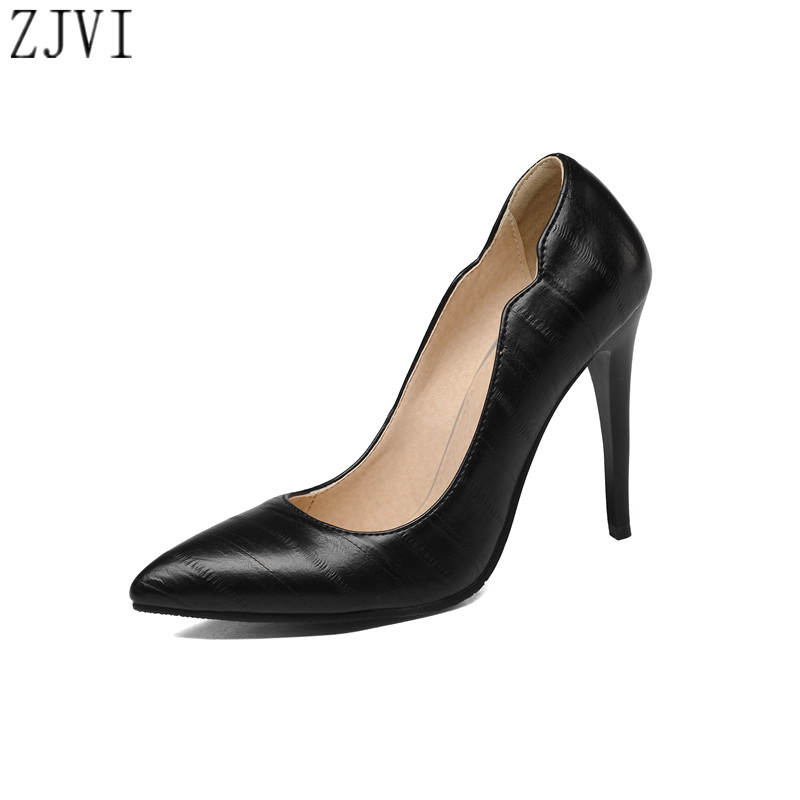ФОТО ZJVI woman pointed toe Thin high heels pumps women spring autumn shoes womens elegant women's work office Pumps plus size 4-13