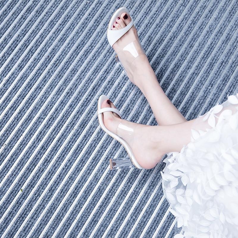 white Confortable Pantoufles Transparent D'été De Black Hauts Semelles Femmes Compensées Chaussures Habillées Mode Talons Sexy Sandales TnZg1UT