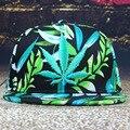 Горячие Продажи Snapback 2016 Повседневная Хип-Хоп Бейсболки Chapeu бонет Gorra Вышивка Зеленый Конопли Лист Цветок Печатных Шляпы Мужчины женщины