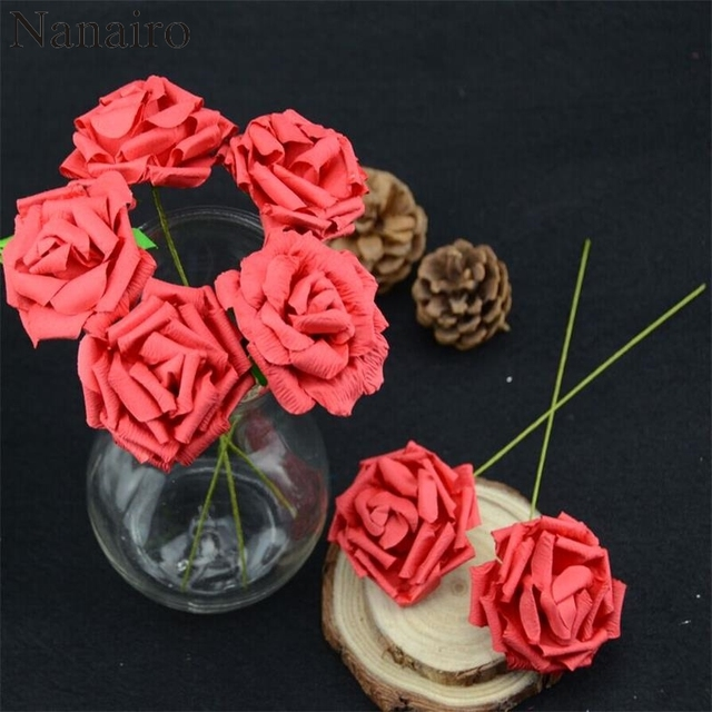 10 pz lotto 3.5 cm san Valentino Mini Paper Rose Con Stelo Fiori Wedding  Bouquet 37123a8e1e15