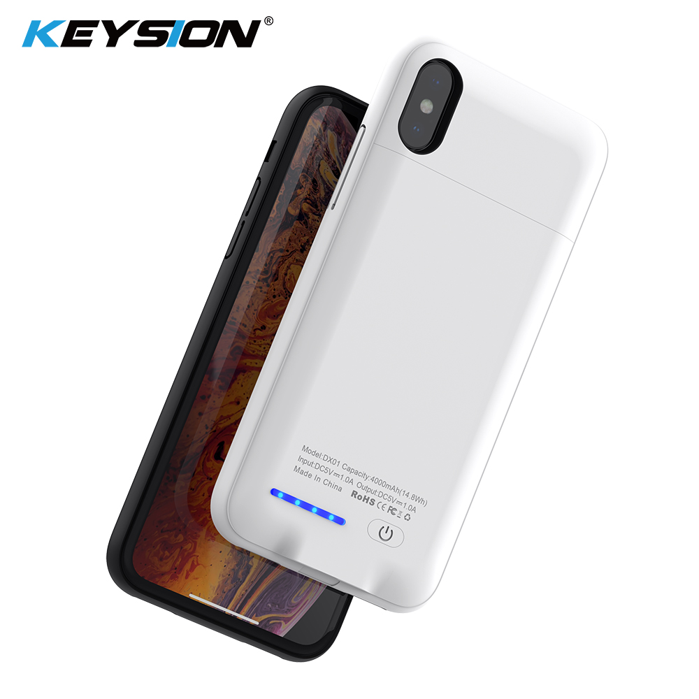 Keysion 4000/5000Mah Battery Charger Case For Iphone Xs Max Xr X Battery Energy Financial institution Transportable Charging Case Cowl For Iphone Xr