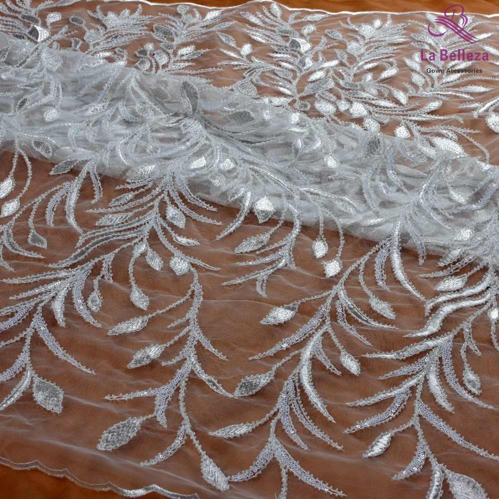 New fashion viola/rosa/bianco/verde foglie con in rilievo sulla bridel da cerimonia nuziale del ricamo netto tessuto del merletto