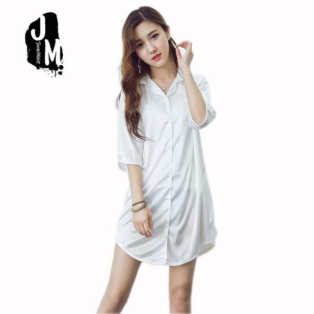 Nightgowns Sleepshirts Women Satin Night Shirt Sexy Pijama Sleep Shirts For  Womens Pijamas Silk Sleepwear Lingerie Home Bathrobe f4c0b3e96