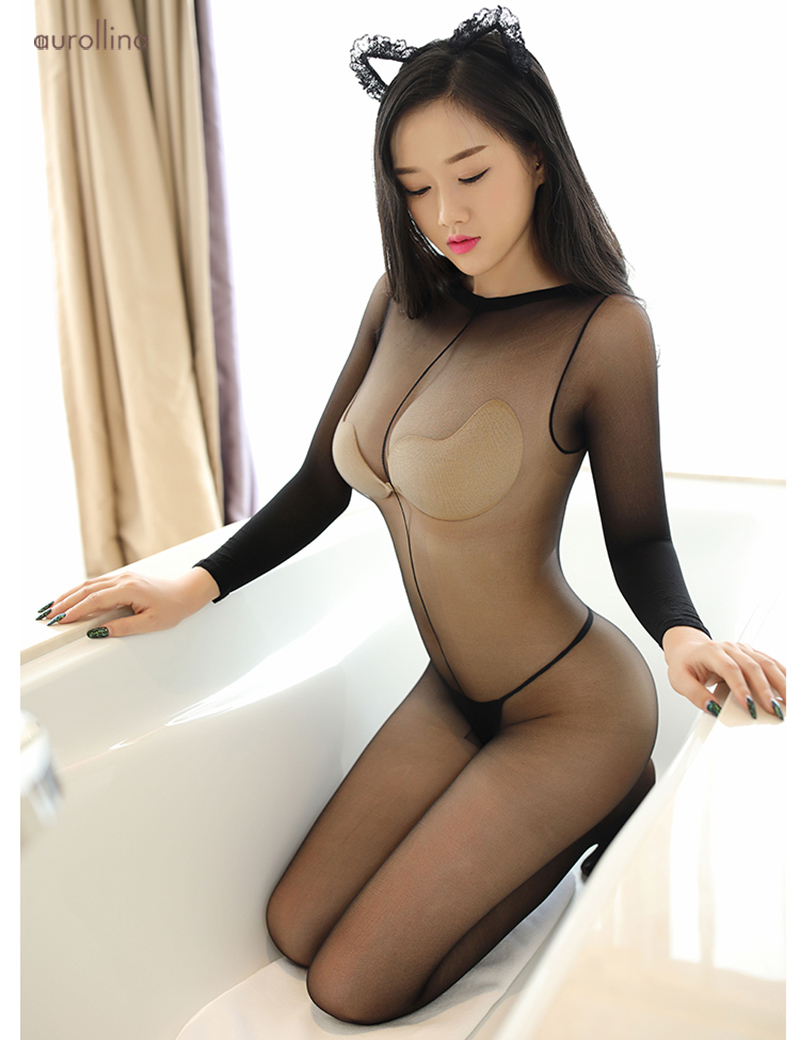Sexy Sheer See Through Bodystocking Adult Film Dress Accent Boobs Sexy Hips Pantyhose Lingeries (6)