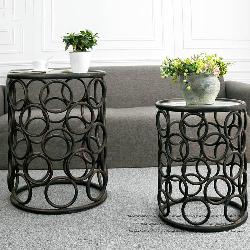 Купить с кэшбэком Metal Iron Set Two Round Coffee Table Corner Retro Round Tea Table Simple Round Glass Table