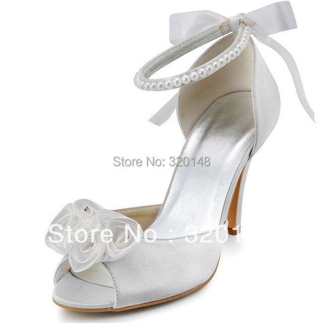 6fff6ba90bd200 EP2092 Blanc Peep Toe Fleur Perle Bracelet 3