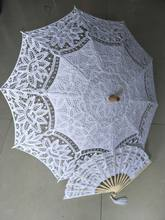 2018 hot Battenburg Lace Parasol dan Fan set Pernikahan Payung Fan Set Bebas Biaya Lace Fan Dan Pernikahan Payung Lace Parasol(China)