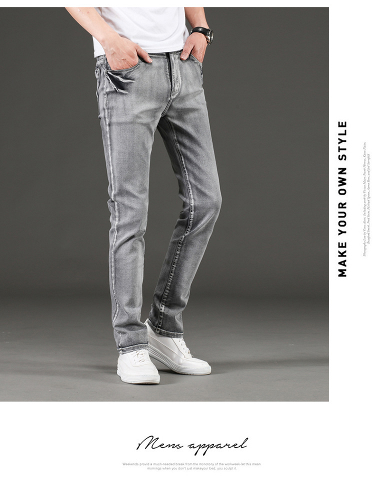 KSTUN Jeans Men Gray Stretch Slim Fit Vintage Spring and Autumn High Quality Yong Boys Denim Pants