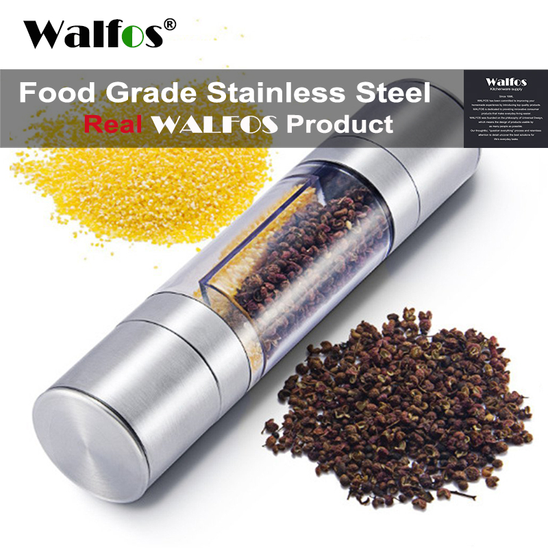 WALFOS Pepper Grinder 2 i 1 Rustfritt stål Manuell Salt Pepper Mill Krydder Kitchen Tools Sliping for matlaging restauranter