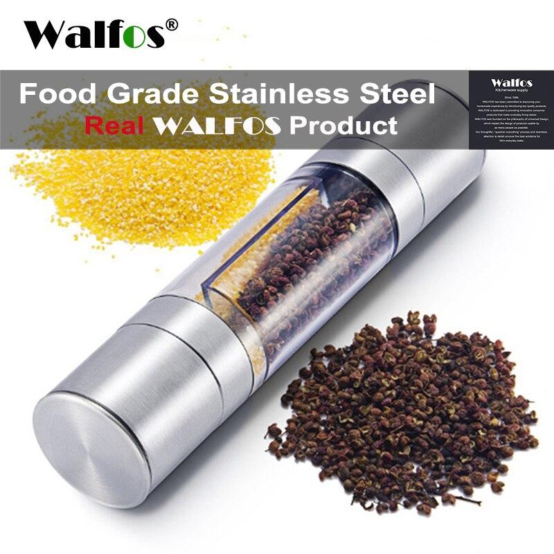 WALFOS Pepper Grinder 2 in 1 Stainless Steel Manual Salt Pepper Mill Seasoning Kitchen Tools Grinding for Cooking Restaurants