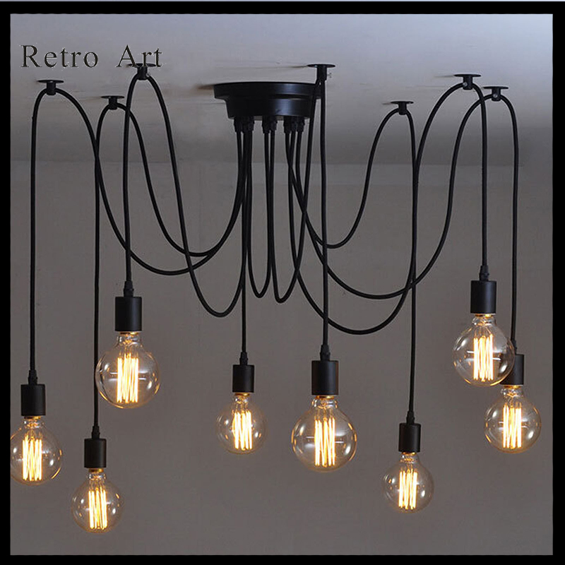 10 heads Edison Vintage Industrial Spider Chandelier Pendant Ceiling Light DIY loft style pendant lamp E27 E26 hemp rope chandelier antique classic adjustable diy ceiling spider lamp light retro edison bulb pedant lamp for home