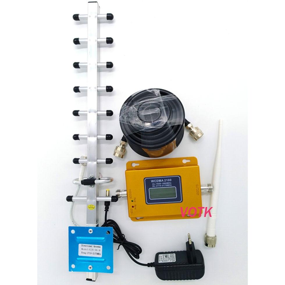 VOTK nouveau amplificateur de répéteur de Signal 3G Mobile 3g amplificateur de répéteur de Signal affichage LCD Mini 3G LTE WCDMA UMTS 2100 Mhz 3G répéteur fullset