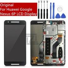Orijinal Huawei Google Nexus 6P için lcd ekran dokunmatik ekranlı sayısallaştırıcı grup çerçeve ile 6P ekran değiştirme onarım parçaları