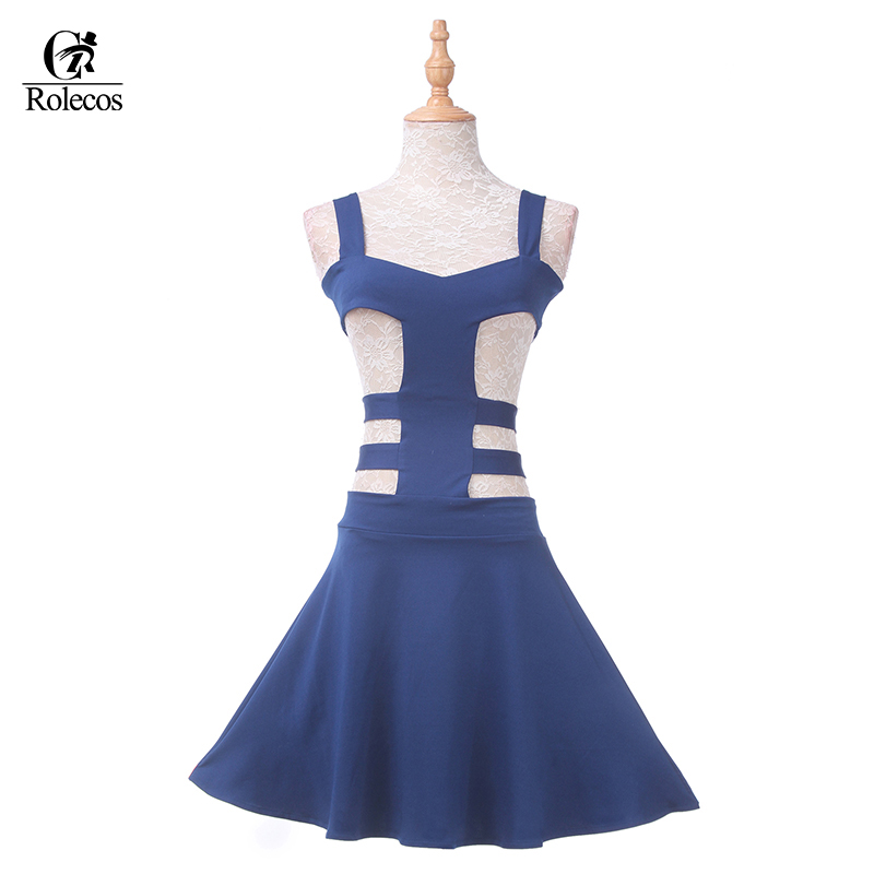 Rolecos Sexy Women Dress Blue Cosplay Costume Sweet Girl Lolita Dress High Quality Vintage for Party