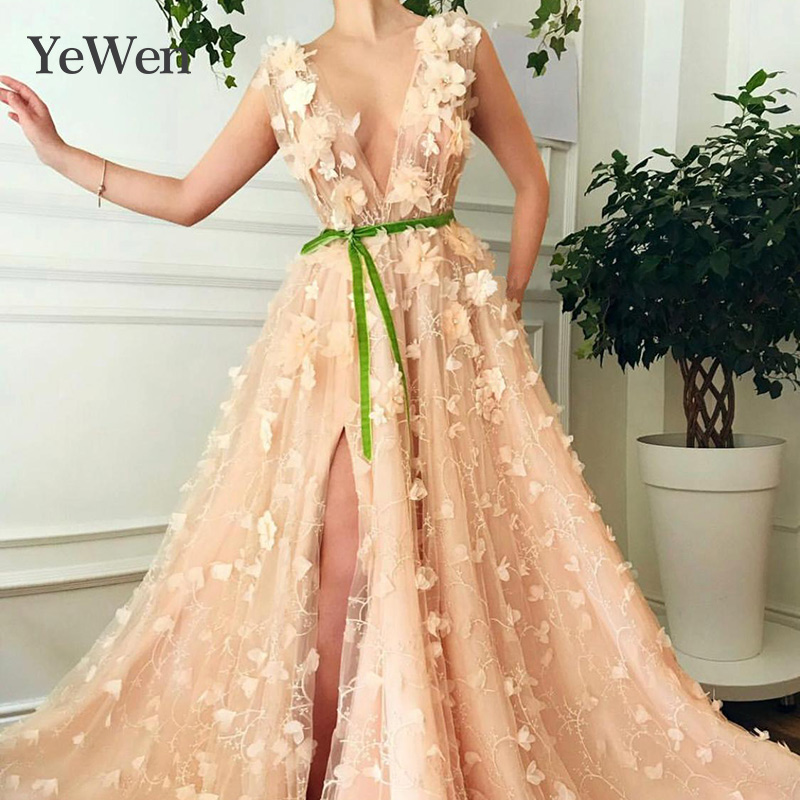 Deep V-neck   Evening     Dresses   Lace Appliques Robe De Soiree   Evening     Dress   Elegant Party Vestidos De Fiesta De Noche   Evening   Gown